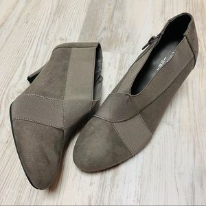 London Fog Gray Faux Suede Ankle Booties 8